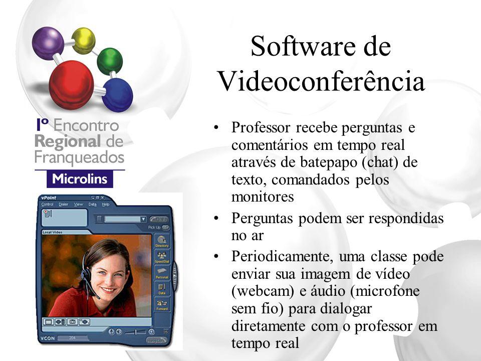 Software de Videoconferência Professor recebe perguntas e comentários em tempo real através de batepapo (chat) de texto, comandados pelos monitores Pe