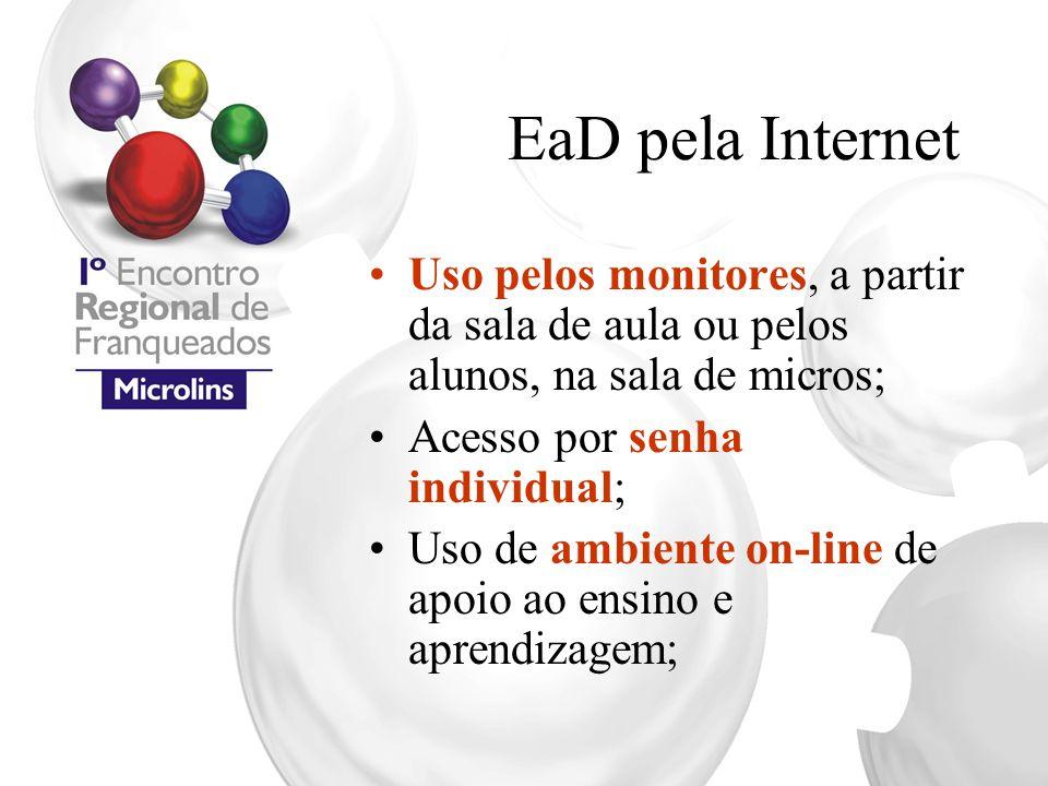 EaD pela Internet Uso pelos monitores, a partir da sala de aula ou pelos alunos, na sala de micros; Acesso por senha individual; Uso de ambiente on-li