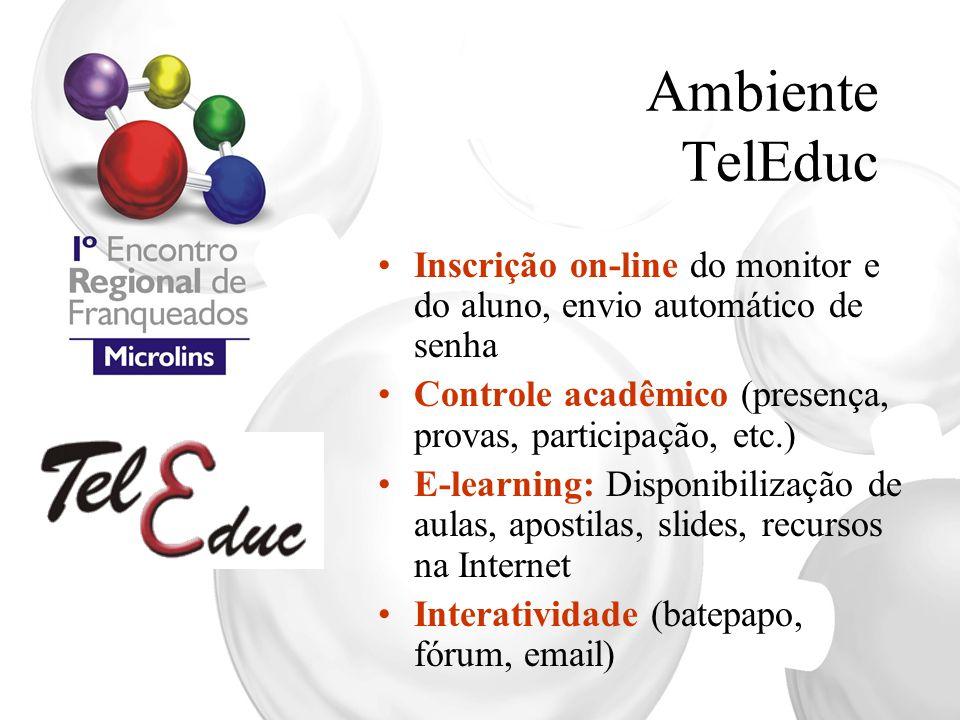 Ambiente TelEduc Inscrição on-line do monitor e do aluno, envio automático de senha Controle acadêmico (presença, provas, participação, etc.) E-learni