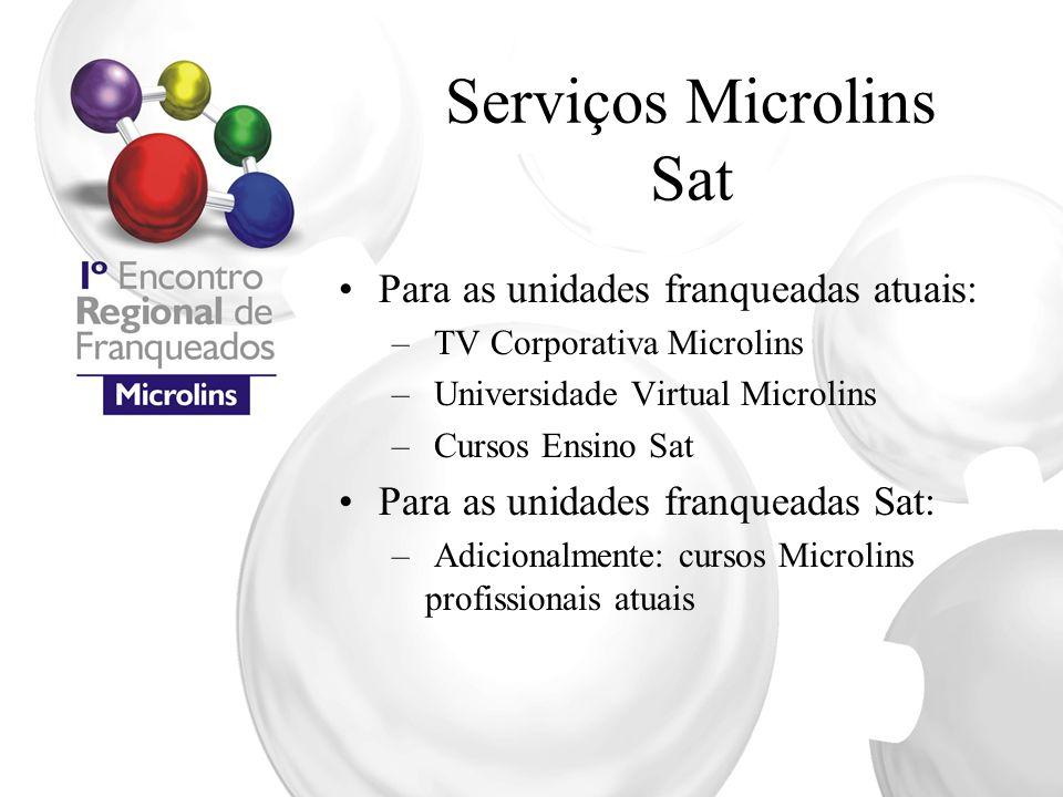 Serviços Microlins Sat Para as unidades franqueadas atuais: – TV Corporativa Microlins – Universidade Virtual Microlins – Cursos Ensino Sat Para as un