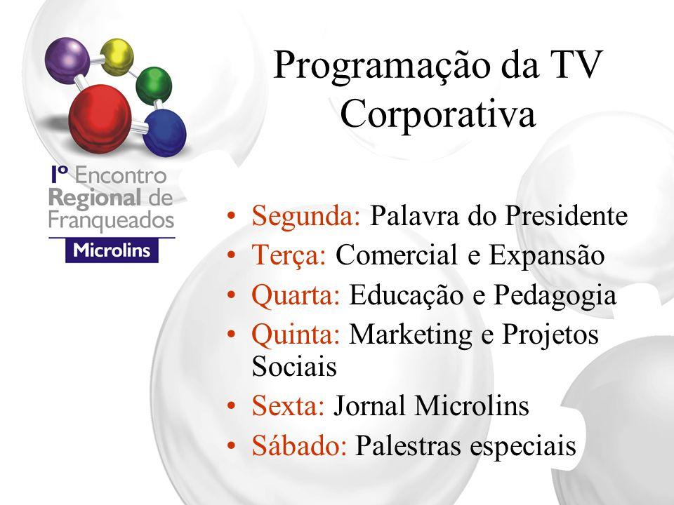 Programação da TV Corporativa Segunda: Palavra do Presidente Terça: Comercial e Expansão Quarta: Educação e Pedagogia Quinta: Marketing e Projetos Soc