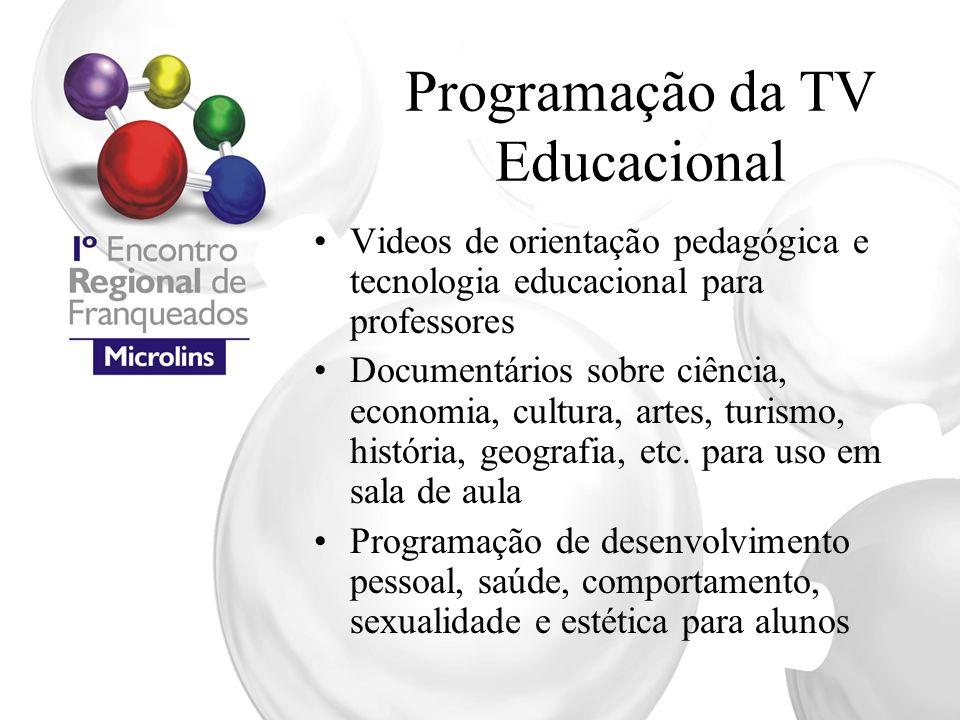 Programação da TV Educacional Videos de orientação pedagógica e tecnologia educacional para professores Documentários sobre ciência, economia, cultura