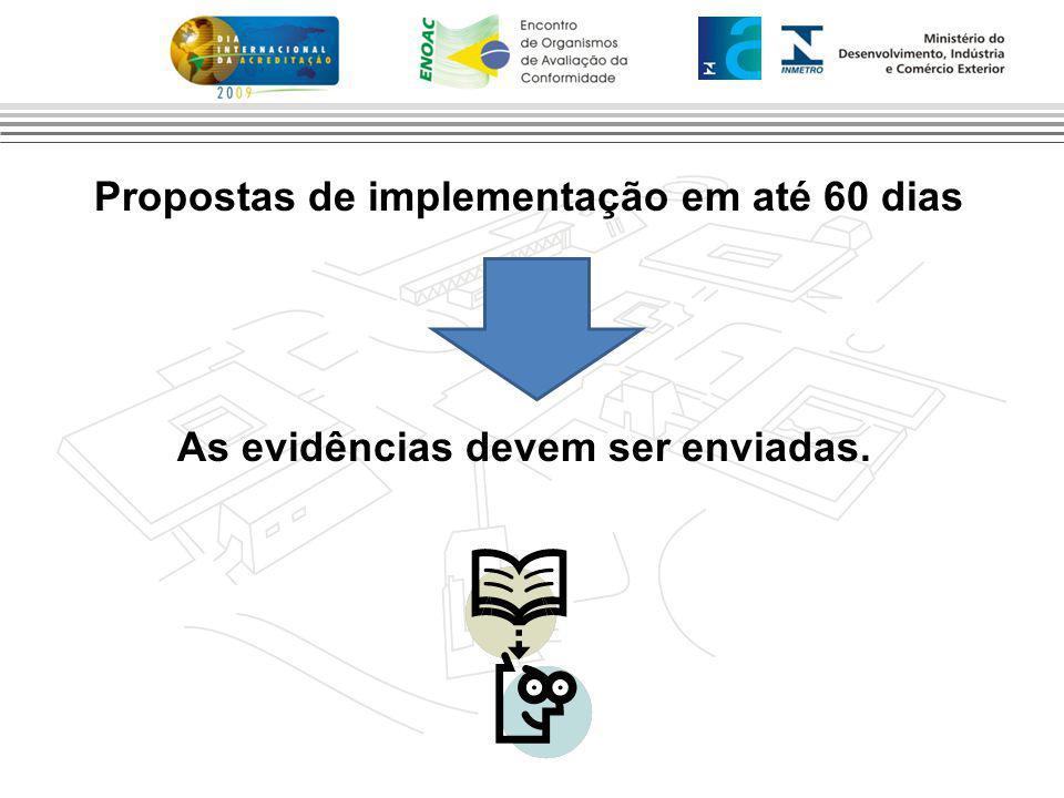 Propostas de implementação em até 60 dias As evidências devem ser enviadas.
