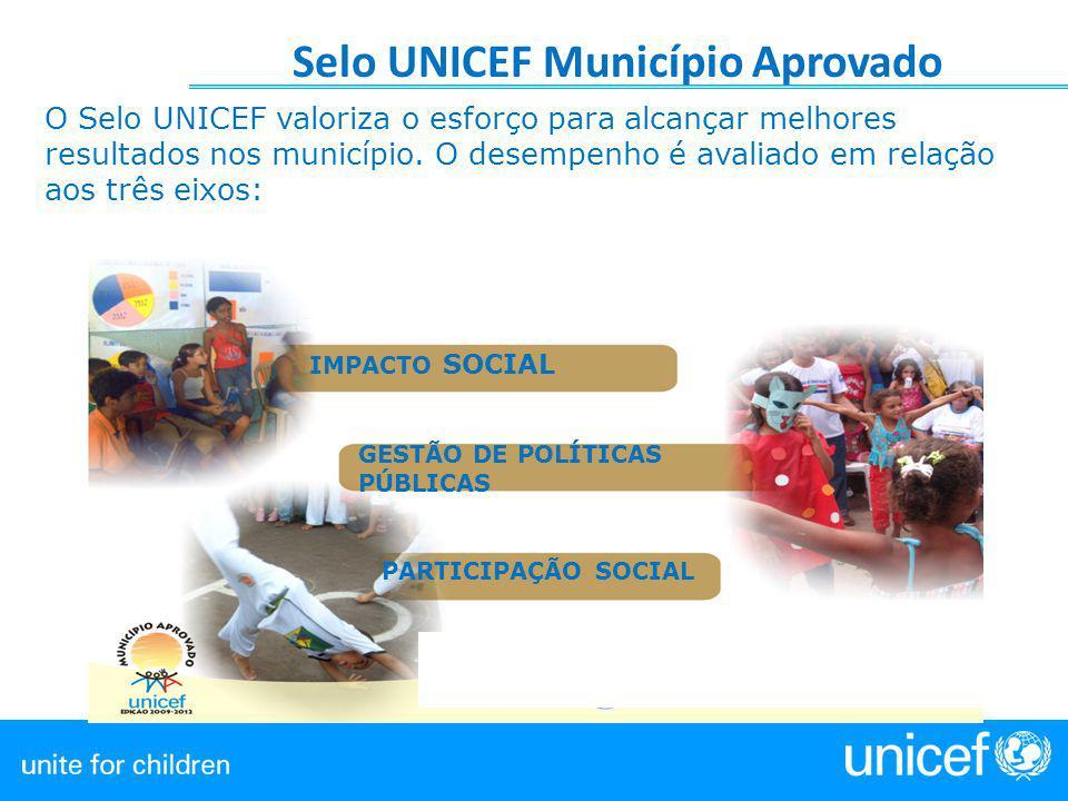Selo UNICEF Município Aprovado O Selo UNICEF valoriza o esforço para alcançar melhores resultados nos município. O desempenho é avaliado em relação ao