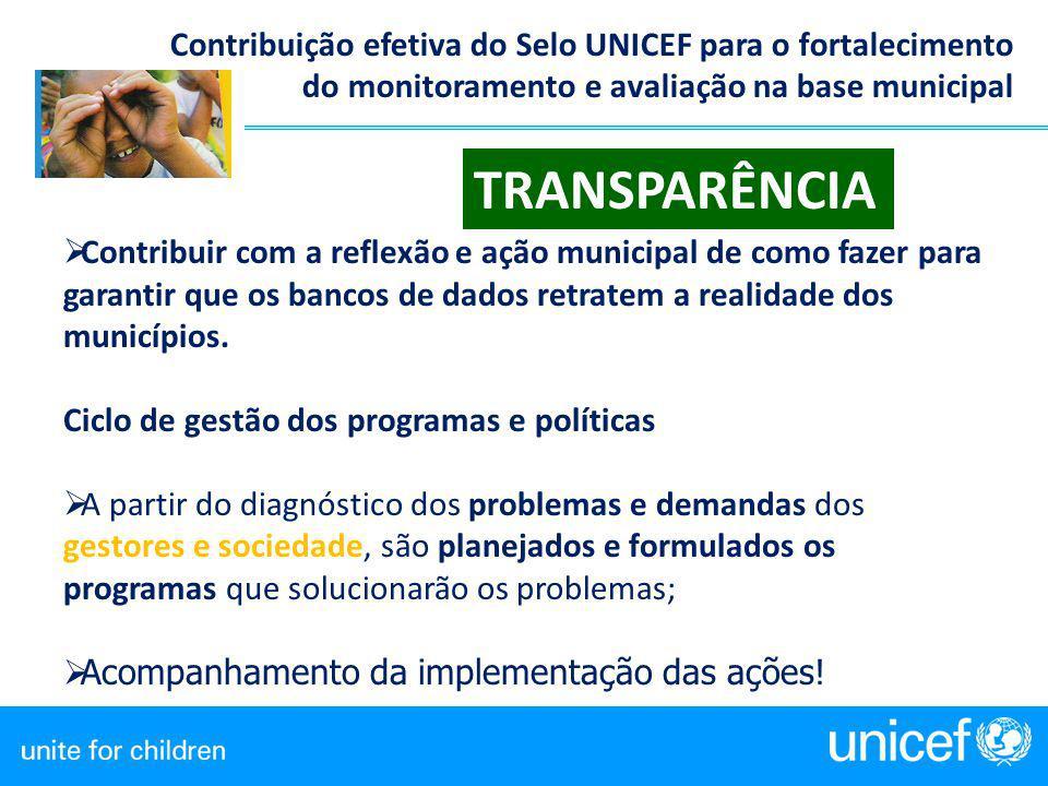Contribuição efetiva do Selo UNICEF para o fortalecimento do monitoramento e avaliação na base municipal  Contribuir com a reflexão e ação municipal