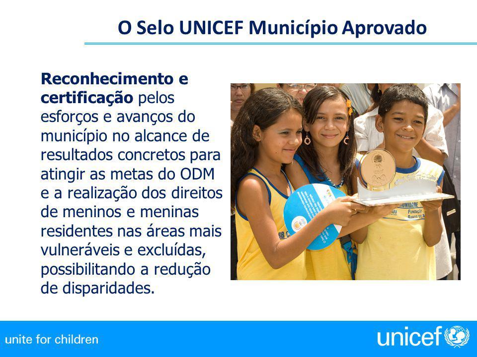 O Selo UNICEF Município Aprovado Reconhecimento e certificação pelos esforços e avanços do município no alcance de resultados concretos para atingir a