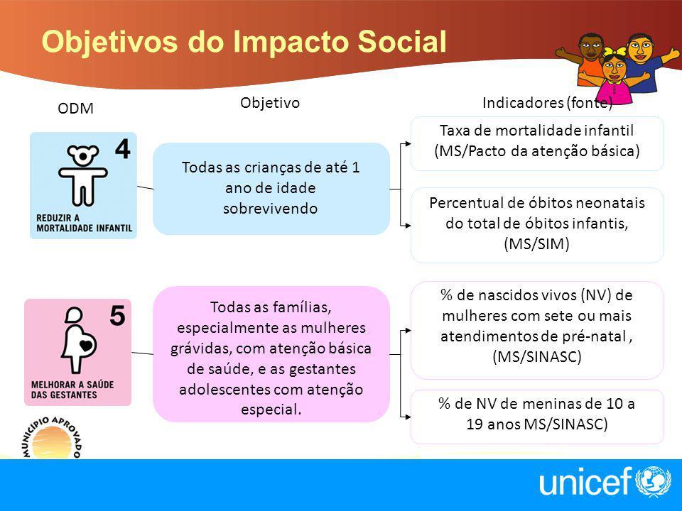 Objetivos do Impacto Social ObjetivoIndicadores (fonte) Todas as crianças de até 1 ano de idade sobrevivendo Taxa de mortalidade infantil (MS/Pacto da