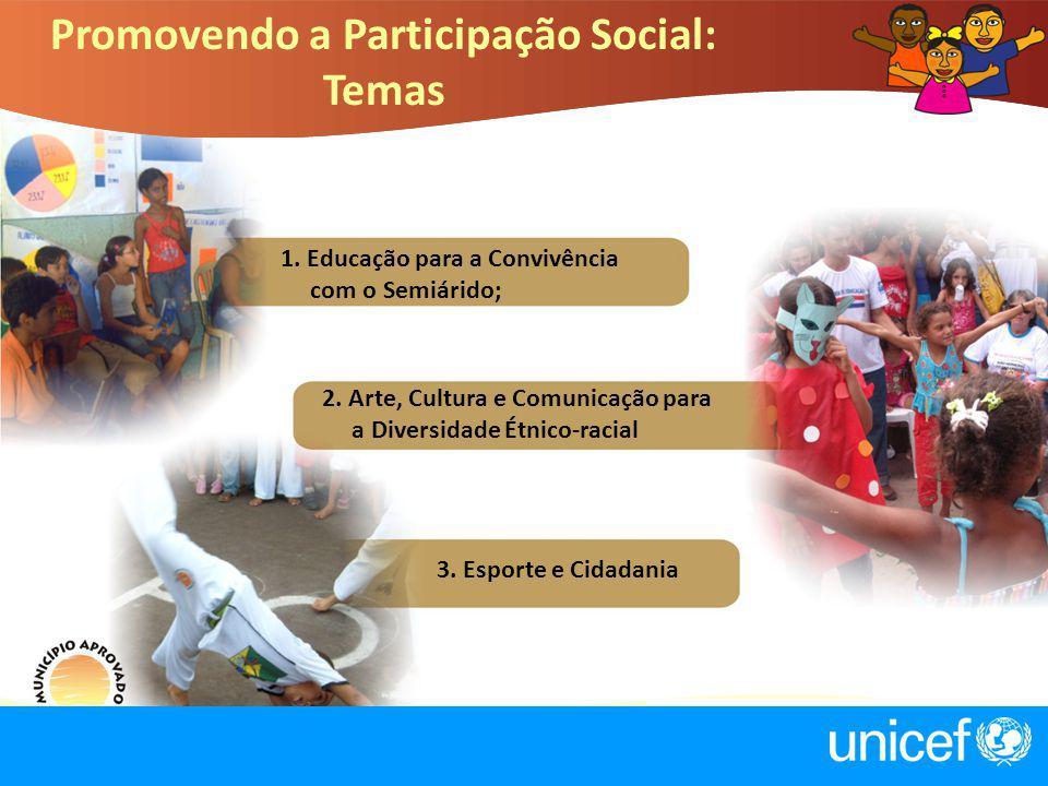 1. Educação para a Convivência com o Semiárido; 2. Arte, Cultura e Comunicação para a Diversidade Étnico-racial 3. Esporte e Cidadania Promovendo a Pa