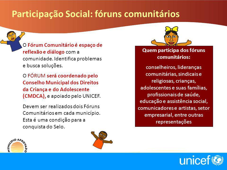 Participação Social: fóruns comunitários O Fórum Comunitário é espaço de reflexão e diálogo com a comunidade. Identifica problemas e busca soluções. O