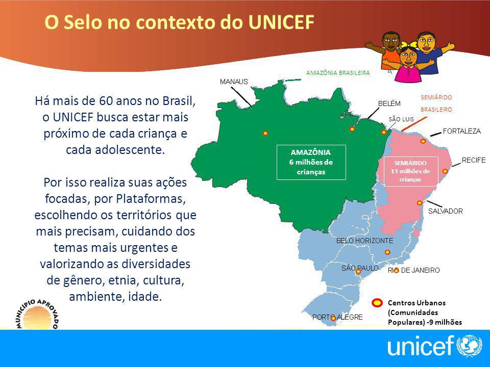 O Selo no contexto do UNICEF Há mais de 60 anos no Brasil, o UNICEF busca estar mais próximo de cada criança e cada adolescente. Por isso realiza suas