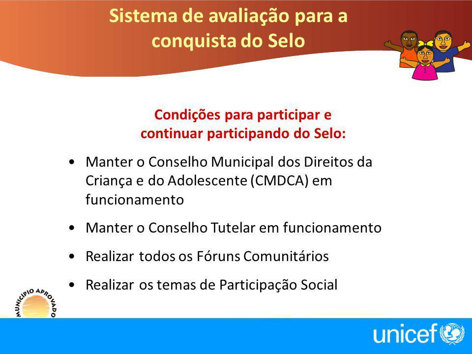 Sistema de avaliação para a conquista do Selo Condições para participar e continuar participando do Selo: Manter o Conselho Municipal dos Direitos da