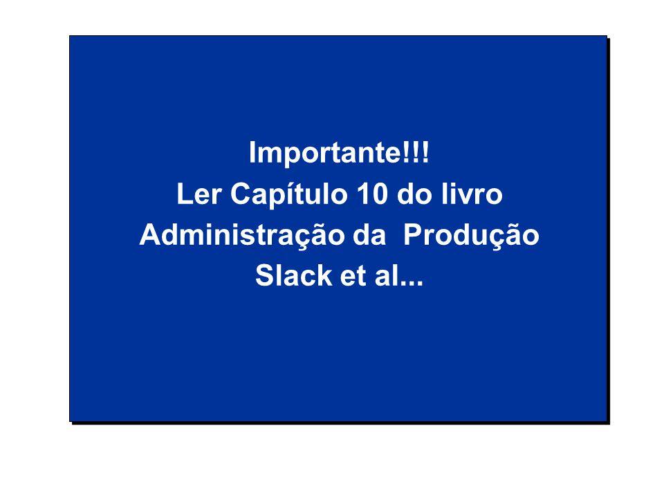 Importante!!! Ler Capítulo 10 do livro Administração da Produção Slack et al...