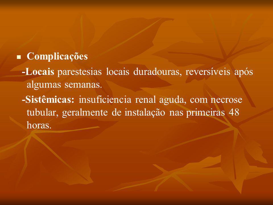 Complicações -Locais parestesias locais duradouras, reversíveis após algumas semanas.