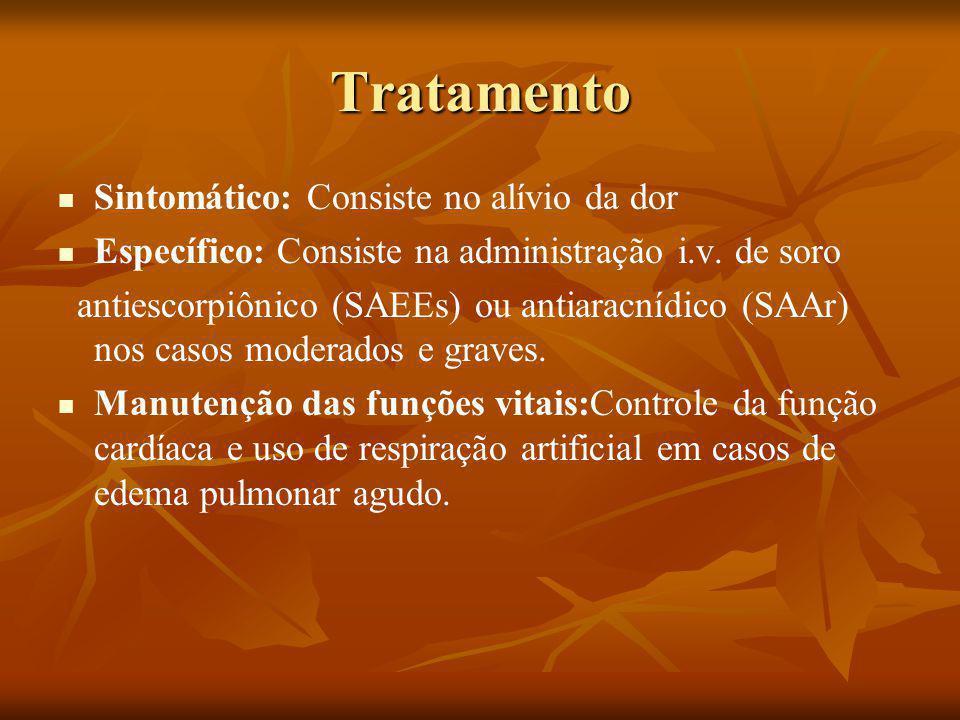 Tratamento Sintomático: Consiste no alívio da dor Específico: Consiste na administração i.v.