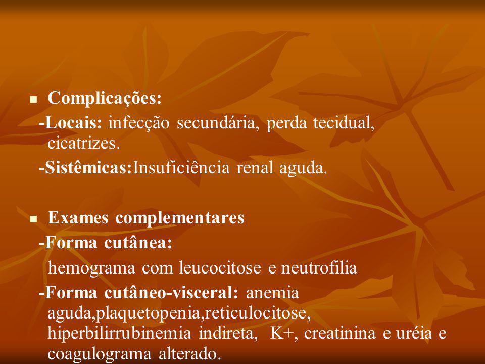 Complicações: -Locais: infecção secundária, perda tecidual, cicatrizes.