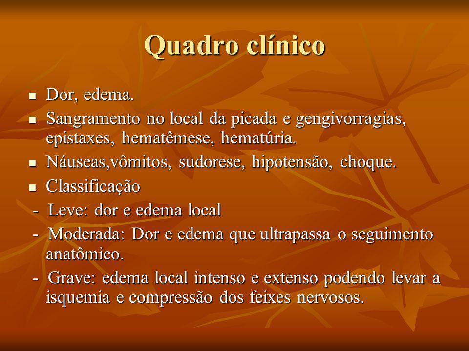 Quadro clínico Dor, edema.Dor, edema.