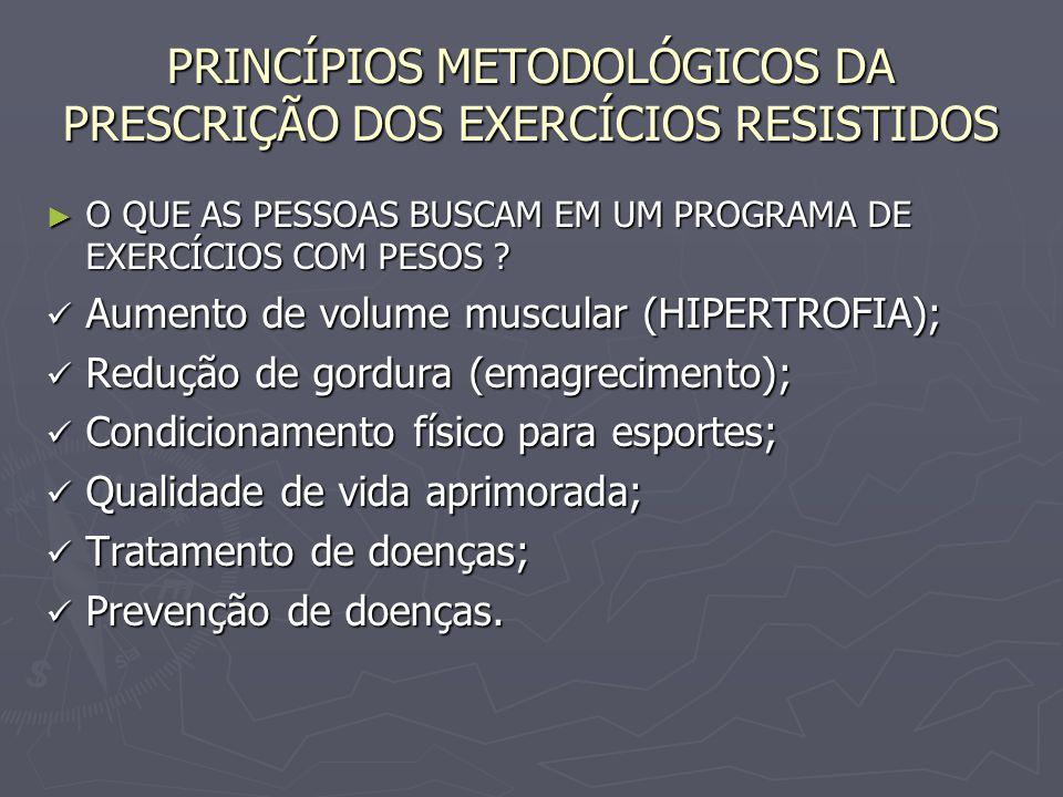 PRINCÍPIOS METODOLÓGICOS DA PRESCRIÇÃO DOS EXERCÍCIOS RESISTIDOS ► O QUE AS PESSOAS BUSCAM EM UM PROGRAMA DE EXERCÍCIOS COM PESOS ? Aumento de volume