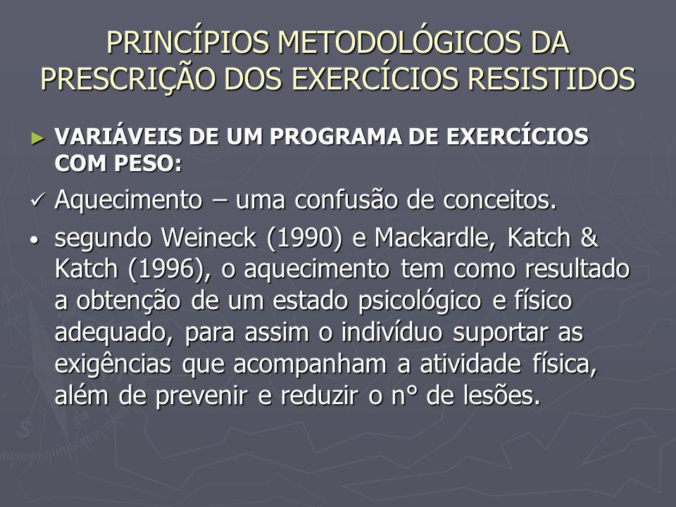 PRINCÍPIOS METODOLÓGICOS DA PRESCRIÇÃO DOS EXERCÍCIOS RESISTIDOS ► VARIÁVEIS DE UM PROGRAMA DE EXERCÍCIOS COM PESO: Aquecimento – uma confusão de conc