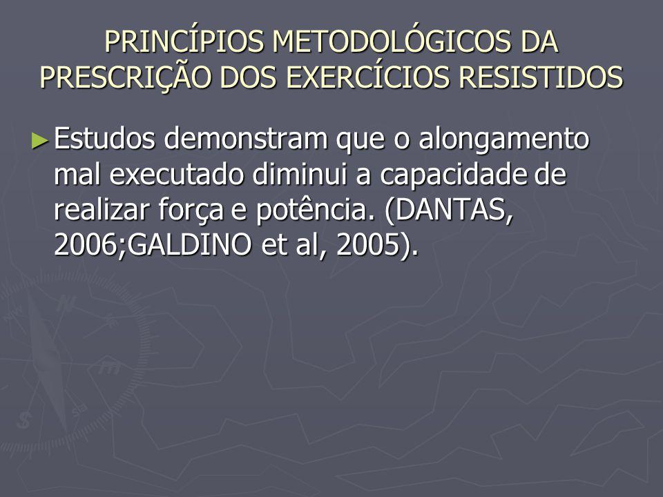 PRINCÍPIOS METODOLÓGICOS DA PRESCRIÇÃO DOS EXERCÍCIOS RESISTIDOS ► Estudos demonstram que o alongamento mal executado diminui a capacidade de realizar