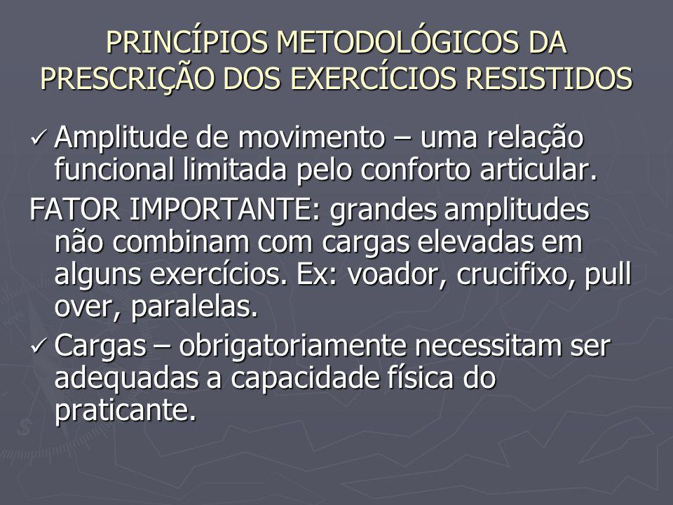 PRINCÍPIOS METODOLÓGICOS DA PRESCRIÇÃO DOS EXERCÍCIOS RESISTIDOS Amplitude de movimento – uma relação funcional limitada pelo conforto articular. Ampl