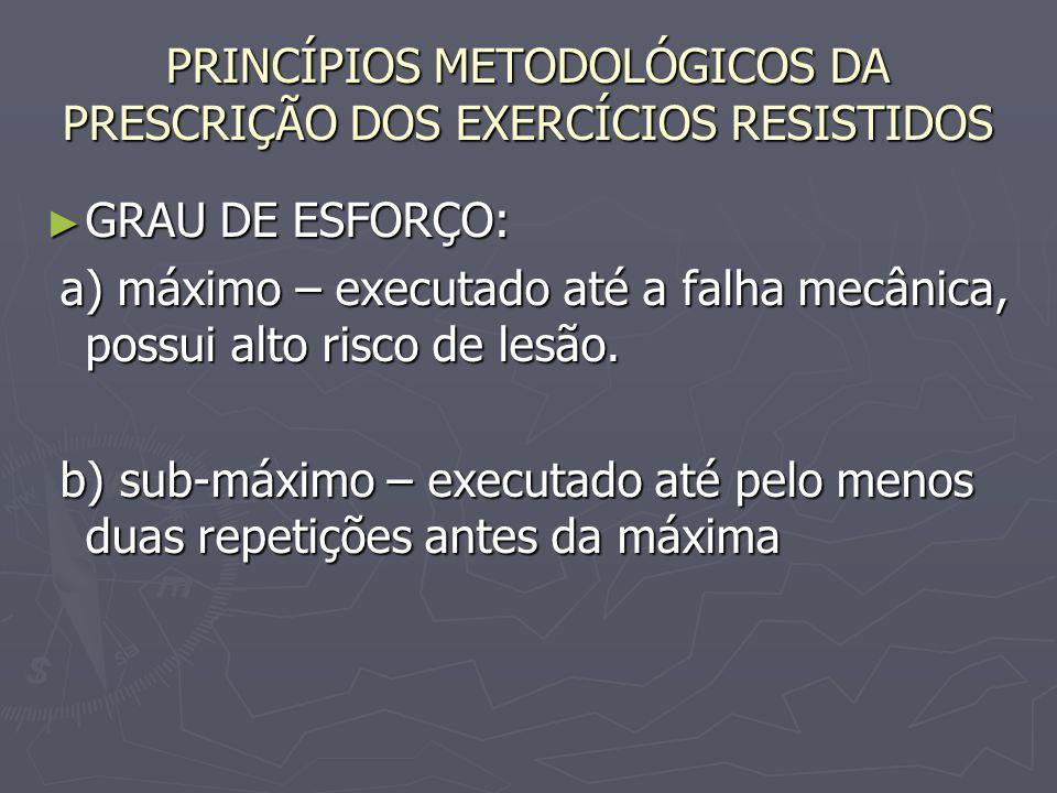PRINCÍPIOS METODOLÓGICOS DA PRESCRIÇÃO DOS EXERCÍCIOS RESISTIDOS ► GRAU DE ESFORÇO: a) máximo – executado até a falha mecânica, possui alto risco de l