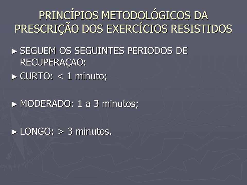 PRINCÍPIOS METODOLÓGICOS DA PRESCRIÇÃO DOS EXERCÍCIOS RESISTIDOS ► SEGUEM OS SEGUINTES PERIODOS DE RECUPERAÇAO: ► CURTO: < 1 minuto; ► MODERADO: 1 a 3