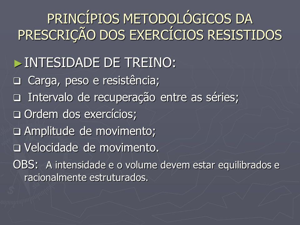 PRINCÍPIOS METODOLÓGICOS DA PRESCRIÇÃO DOS EXERCÍCIOS RESISTIDOS ► INTESIDADE DE TREINO:  Carga, peso e resistência;  Intervalo de recuperação entre