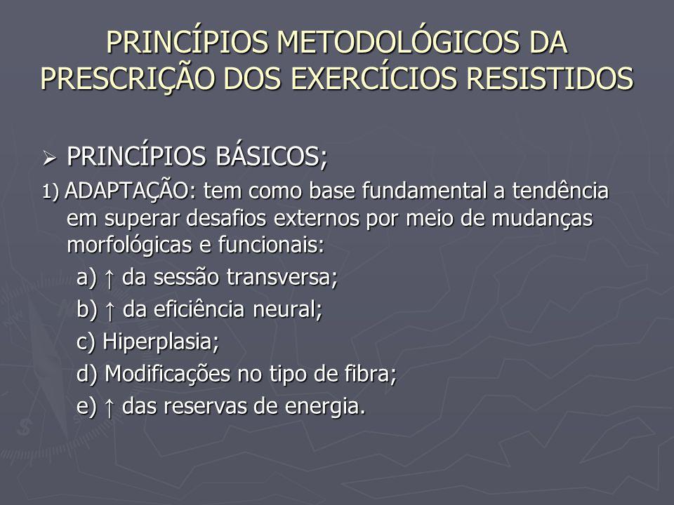 PRINCÍPIOS METODOLÓGICOS DA PRESCRIÇÃO DOS EXERCÍCIOS RESISTIDOS  PRINCÍPIOS BÁSICOS; 1) ADAPTAÇÃO: tem como base fundamental a tendência em superar
