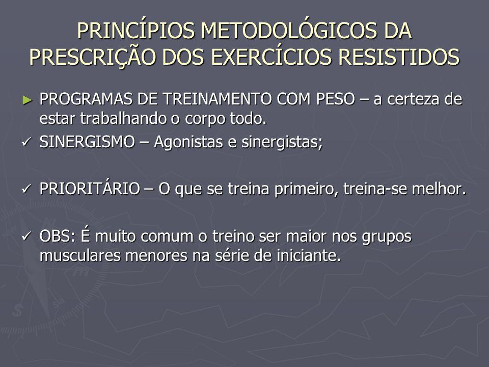 PRINCÍPIOS METODOLÓGICOS DA PRESCRIÇÃO DOS EXERCÍCIOS RESISTIDOS ► PROGRAMAS DE TREINAMENTO COM PESO – a certeza de estar trabalhando o corpo todo. SI