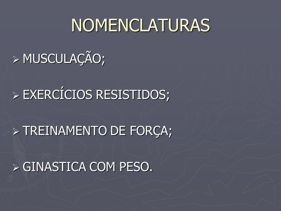 NOMENCLATURAS  MUSCULAÇÃO;  EXERCÍCIOS RESISTIDOS;  TREINAMENTO DE FORÇA;  GINASTICA COM PESO.