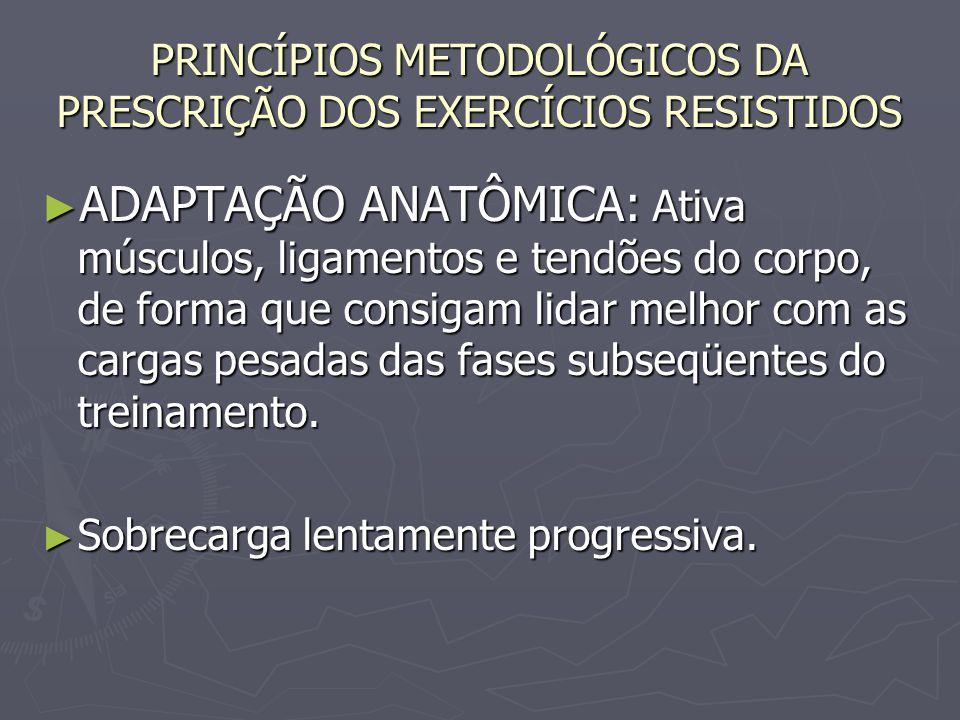 PRINCÍPIOS METODOLÓGICOS DA PRESCRIÇÃO DOS EXERCÍCIOS RESISTIDOS ► ADAPTAÇÃO ANATÔMICA: Ativa músculos, ligamentos e tendões do corpo, de forma que co