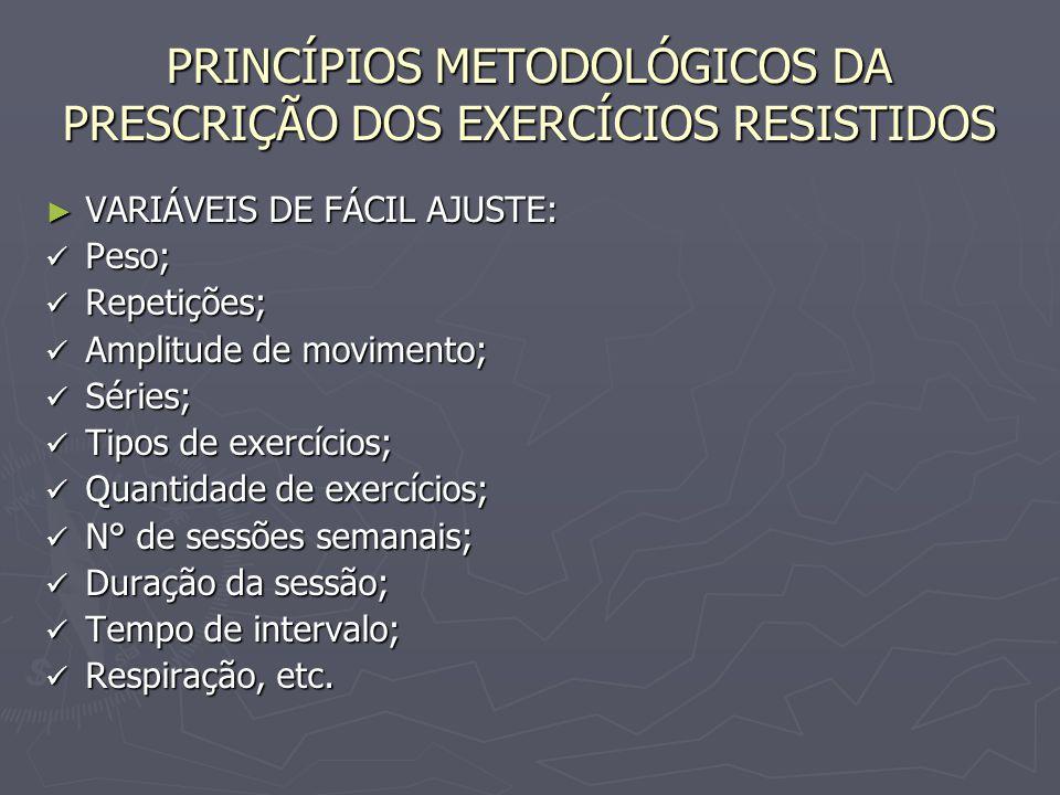 PRINCÍPIOS METODOLÓGICOS DA PRESCRIÇÃO DOS EXERCÍCIOS RESISTIDOS ► VARIÁVEIS DE FÁCIL AJUSTE: Peso; Peso; Repetições; Repetições; Amplitude de movimen