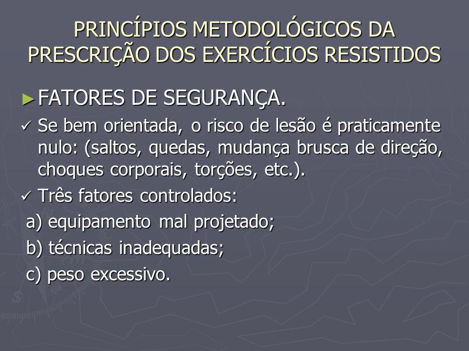 PRINCÍPIOS METODOLÓGICOS DA PRESCRIÇÃO DOS EXERCÍCIOS RESISTIDOS ► FATORES DE SEGURANÇA. Se bem orientada, o risco de lesão é praticamente nulo: (salt
