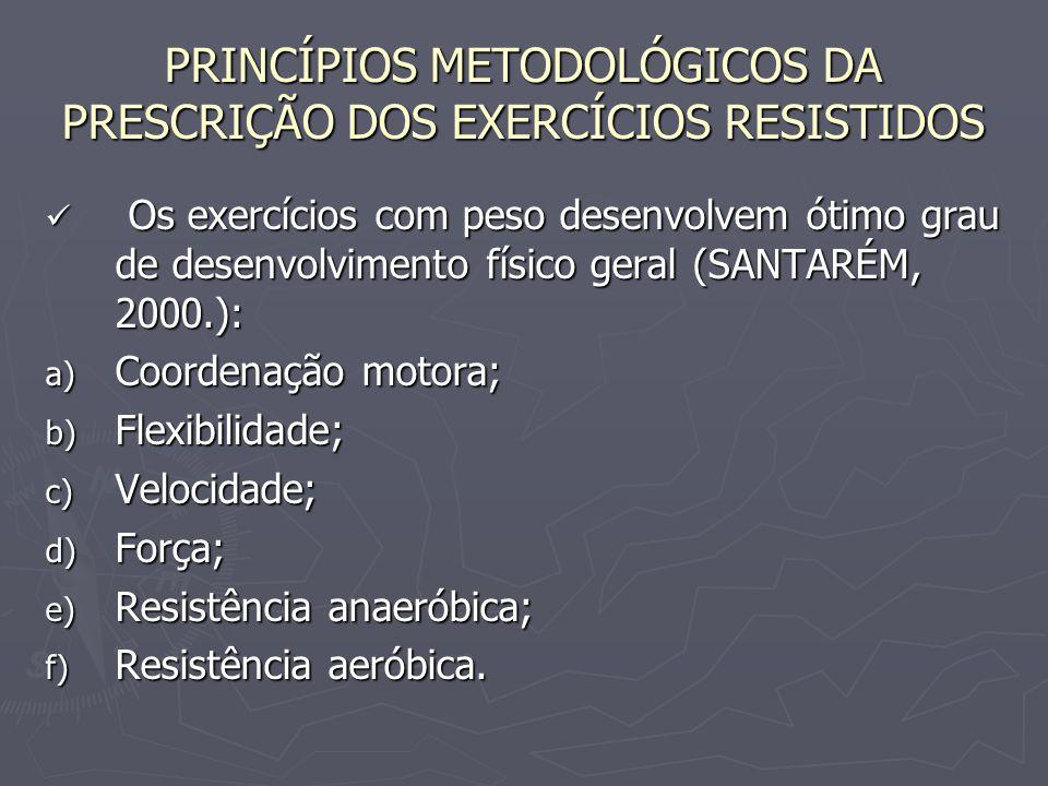 PRINCÍPIOS METODOLÓGICOS DA PRESCRIÇÃO DOS EXERCÍCIOS RESISTIDOS Os exercícios com peso desenvolvem ótimo grau de desenvolvimento físico geral (SANTAR