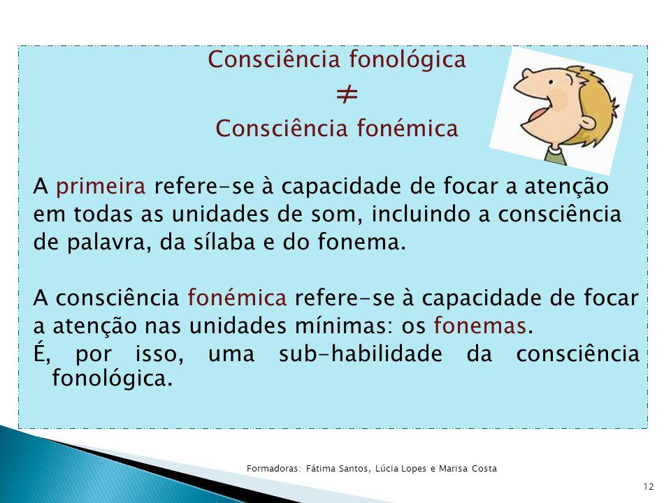 Consciência fonológica ≠ Consciência fonémica A primeira refere-se à capacidade de focar a atenção em todas as unidades de som, incluindo a consciênci