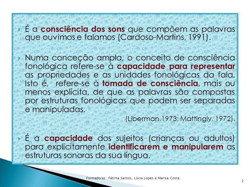  É a consciência dos sons que compõem as palavras que ouvimos e falamos (Cardoso-Martins, 1991).