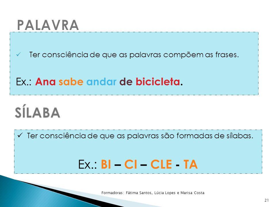 Ter consciência de que as palavras compõem as frases. Ex.: Ana sabe andar de bicicleta. 21 Ter consciência de que as palavras são formadas de sílabas.