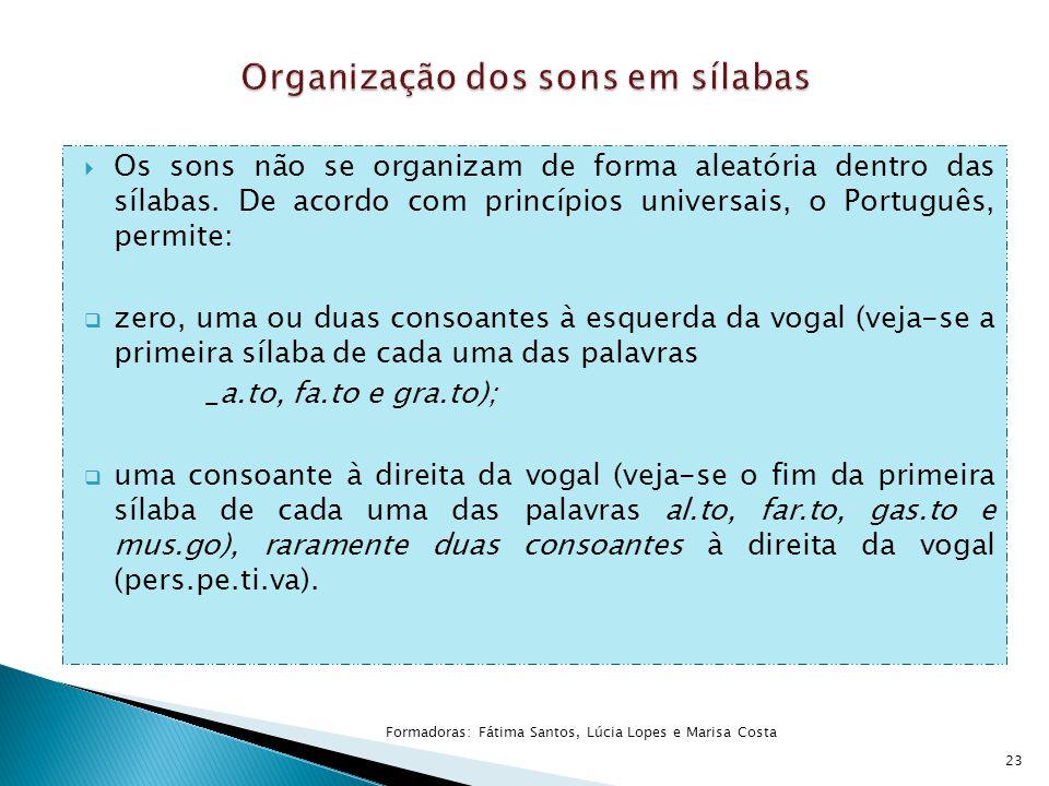  Os sons não se organizam de forma aleatória dentro das sílabas. De acordo com princípios universais, o Português, permite:  zero, uma ou duas conso