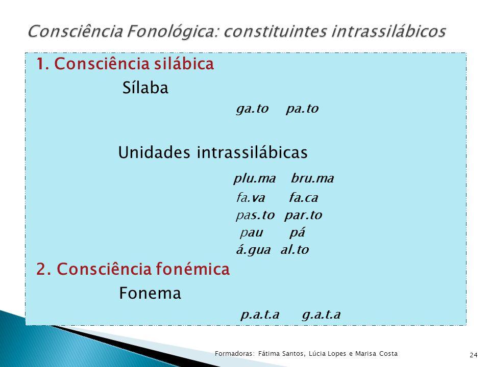 1. Consciência silábica Sílaba ga.to pa.to Unidades intrassilábicas plu.ma bru.ma fa.va fa.ca pas.to par.to pau pá á.gua al.to 2. Consciência fonémica