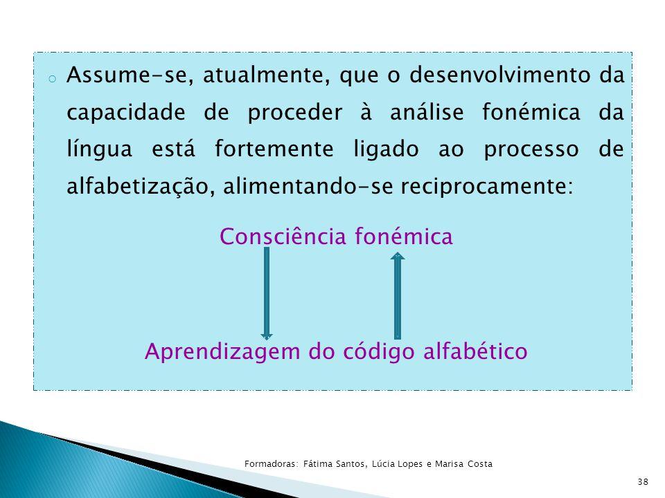 o Assume-se, atualmente, que o desenvolvimento da capacidade de proceder à análise fonémica da língua está fortemente ligado ao processo de alfabetiza