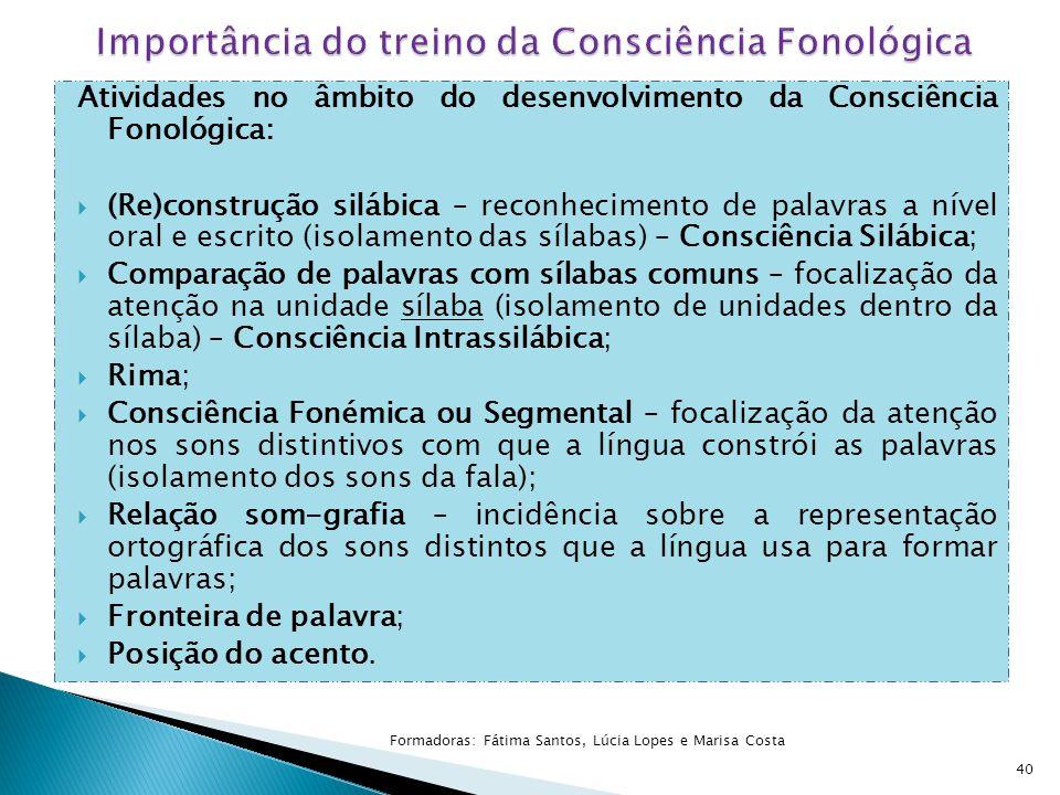 40 Atividades no âmbito do desenvolvimento da Consciência Fonológica:  (Re)construção silábica – reconhecimento de palavras a nível oral e escrito (i