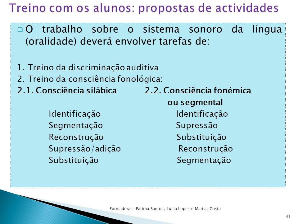  O trabalho sobre o sistema sonoro da língua (oralidade) deverá envolver tarefas de: 1. Treino da discriminação auditiva 2. Treino da consciência fon