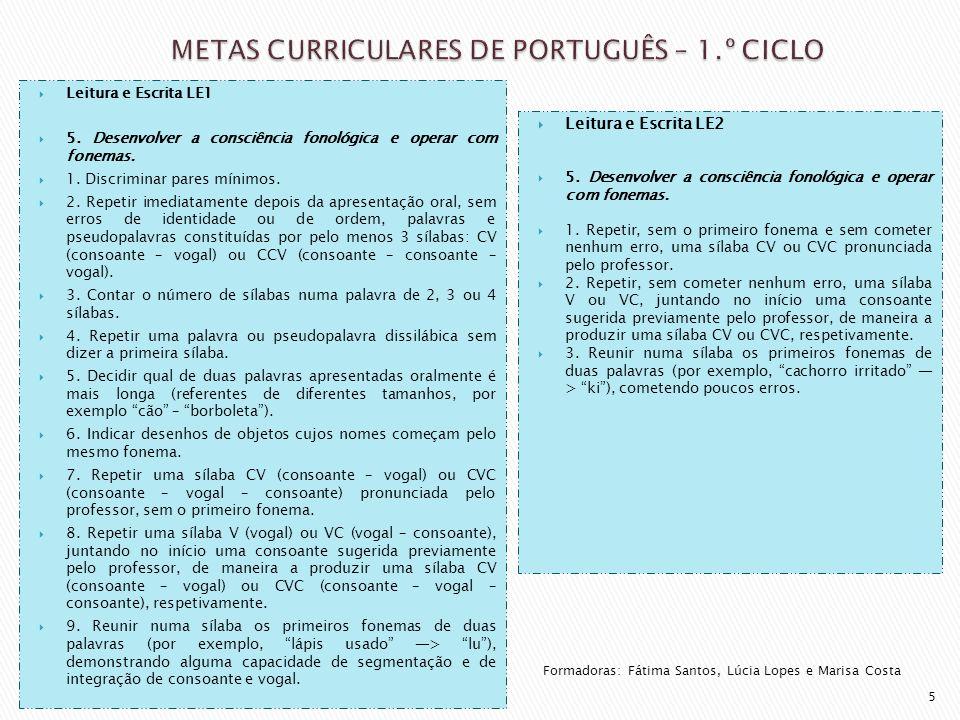  Leitura e Escrita LE1  5. Desenvolver a consciência fonológica e operar com fonemas.  1. Discriminar pares mínimos.  2. Repetir imediatamente dep