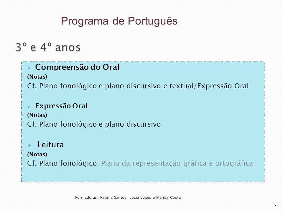  Compreensão do Oral (Notas) Cf. Plano fonológico e plano discursivo e textual/Expressão Oral  Expressão Oral (Notas) Cf. Plano fonológico e plano d