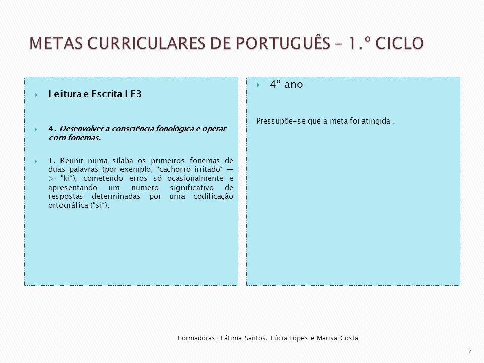  Leitura e Escrita LE3  4. Desenvolver a consciência fonológica e operar com fonemas.  1. Reunir numa sílaba os primeiros fonemas de duas palavras