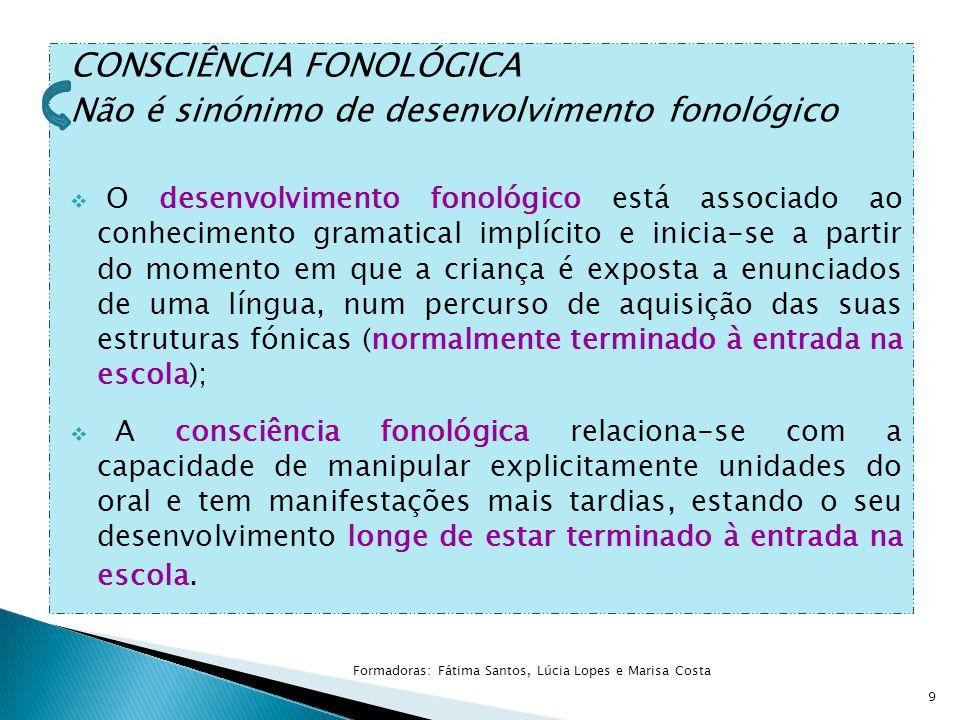  O treino da consciência fonológica deverá seguir esta hierarquia: PALAVRA SÍLABA CONSTITUINTES INTRASSILÁBICOS FONEMA 20 Formadoras: Fátima Santos, Lúcia Lopes e Marisa Costa