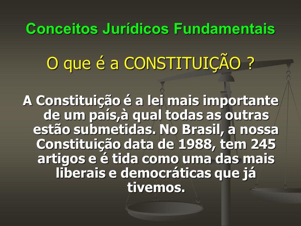 Conceitos Jurídicos Fundamentais O que é a CONSTITUIÇÃO ? A Constituição é a lei mais importante de um país,à qual todas as outras estão submetidas. N