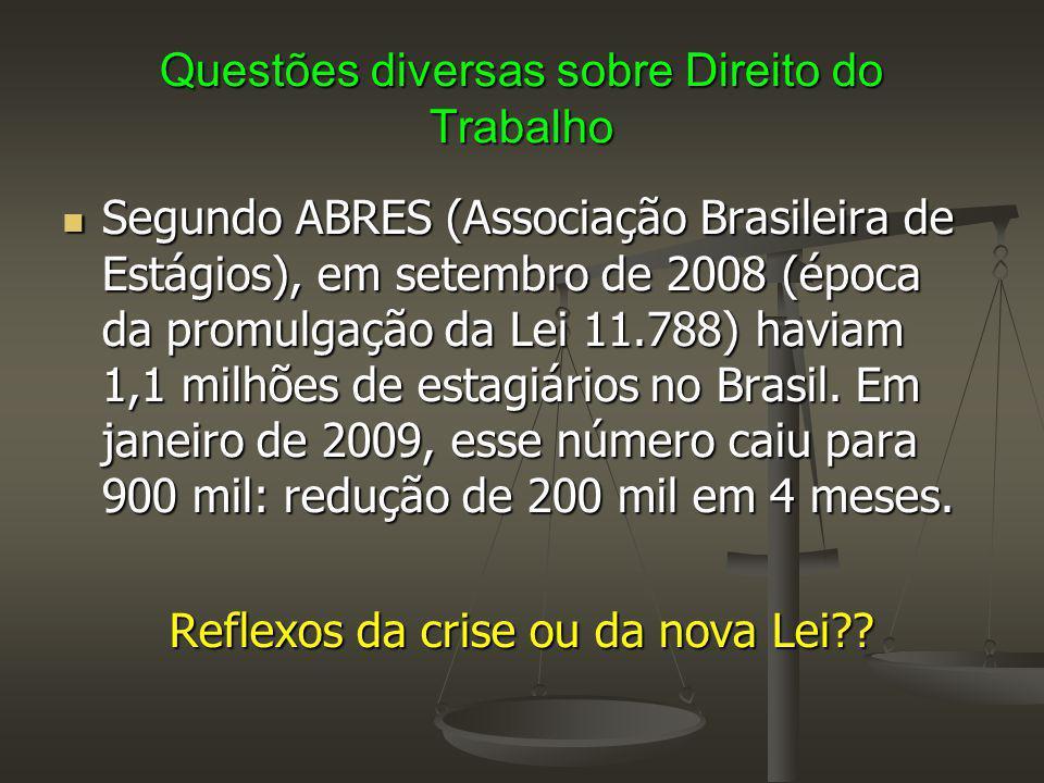 Questões diversas sobre Direito do Trabalho Segundo ABRES (Associação Brasileira de Estágios), em setembro de 2008 (época da promulgação da Lei 11.788
