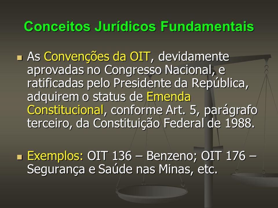 Conceitos Jurídicos Fundamentais As Convenções da OIT, devidamente aprovadas no Congresso Nacional, e ratificadas pelo Presidente da República, adquir