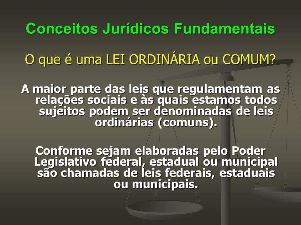 Conceitos Jurídicos Fundamentais O que é uma LEI ORDINÁRIA ou COMUM? A maior parte das leis que regulamentam as relações sociais e às quais estamos to